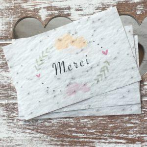Lot de 10 mini cartes « Merci » – Fleurs sauvages
