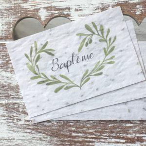 Lot de 10 mini cartes « Baptême » – fleurs sauvages