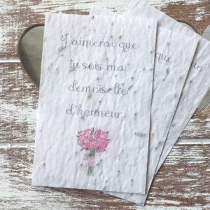 Lot de 10 mini cartes « Demoiselle d'honneur » – fleurs sauvages