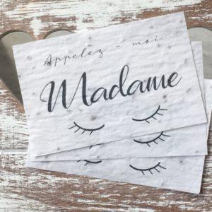 Lot de 10 mini cartes « Madame » – fleurs sauvages