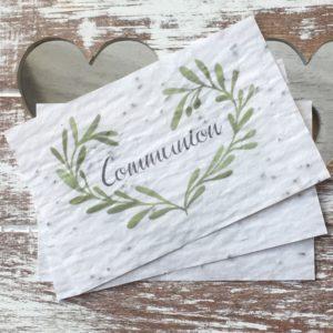 Lot de 10 mini cartes « Communion » – fleurs sauvages