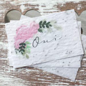 Lot de 10 mini cartes « Oui » fleuri- fleurs sauvages