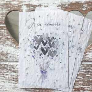 Lot de 10 mini cartes « A sa mémoire » – fleurs sauvages