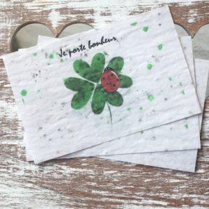 Lot de 10 mini cartes porte bonheur – Fleurs sauvages