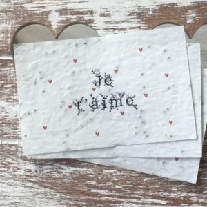 Lot de 10 mini cartes « Je t'aime » – coquelicots bio