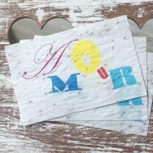 Lot de 10 mini cartes « Amour – coquelicots bio