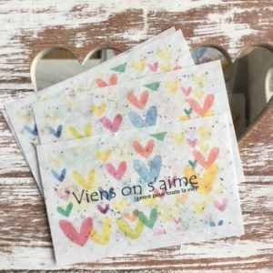 Lot de 10 mini cartes « Viens on s'aime » – coquelicot bio
