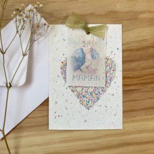 Carte à planter Bonne fête maman bleu