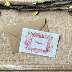 Mini carte Merci fleuri- coquelicot bio