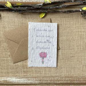 Mini carte « Demoiselle d'honneur » – fleurs sauvages