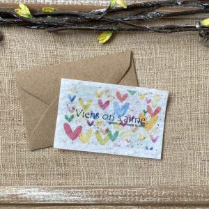 Mini carte « Viens on s'aime » – coquelicot bio