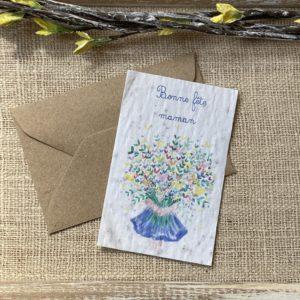 Mini carte Bonne fête maman bouquet – coquelicot bio