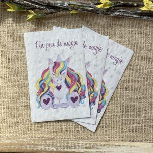 Licorne magique – lot de 10 mini cartes – coquelicot bio