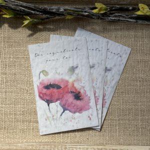 Lot de 10 mini cartes- Coquelicots – coquelicot bio