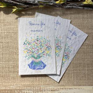 Bonne fête maman bouquet – lot de 10 mini cartes – coquelicot bio