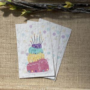 Lot de 10 mini cartes – Gâteau d'anniversaire – coquelicot bio