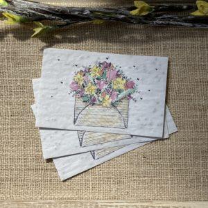 Lot de 10 mini cartes Enveloppe Kraft – coquelicot bio