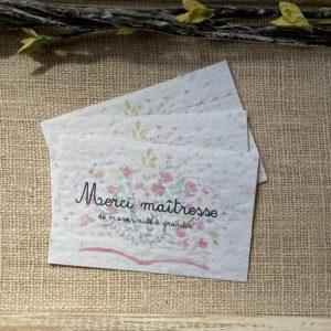 Lot de 10 mini cartes à planter  Merci maîtresse – coquelicot bio