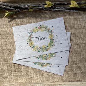 Lot de 10 mini cartes Merci acidulé – Fleurs sauvages