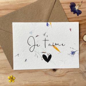 Je t'aime carte poétique aux fleurs séchées