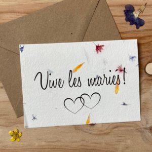 Vive les mariés carte poétique aux fleurs séchées
