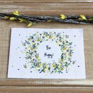 Bee happy – carte à planter A6