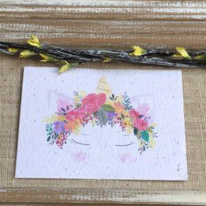 Licorne fleurie – carte à planter A6