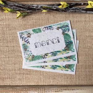 Lot de 10 mini cartes «Merci jungle» – Fleurs sauvages