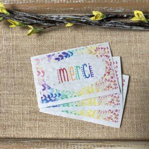 Lot de 10 mini cartes «Merci Rainbow» – Fleurs sauvages