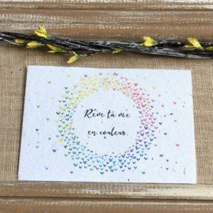Rêve ta vie en couleur arc en ciel – carte à planter A6