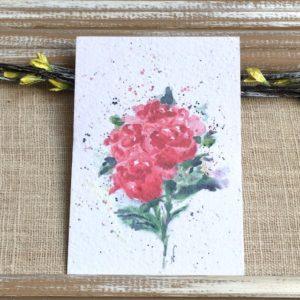 Roses rouges aquarelle – Carte à planter A6