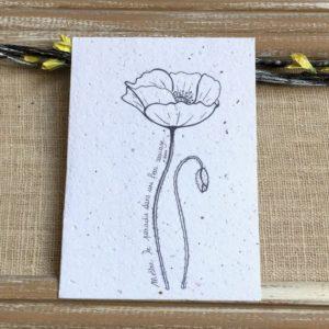 Coquelicot noir & blanc- Carte à planter A6