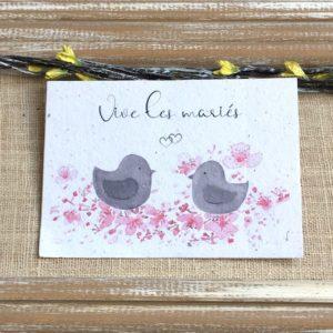 Vive les mariés oiseaux – carte à planter A6