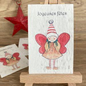 Lot de 10 mini cartes Fée de Noël – coquelicot bio