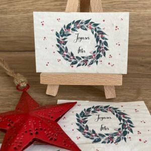 Lot de 10 mini cartes «Couronne de Noël» – Fleurs sauvages