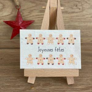 Lot de 10 mini cartes Noël «Farandole de pains d'épices» – Fleurs sauvages