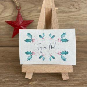 Lot de 10 mini cartes Houx – Joyeux Noël – Fleurs sauvages